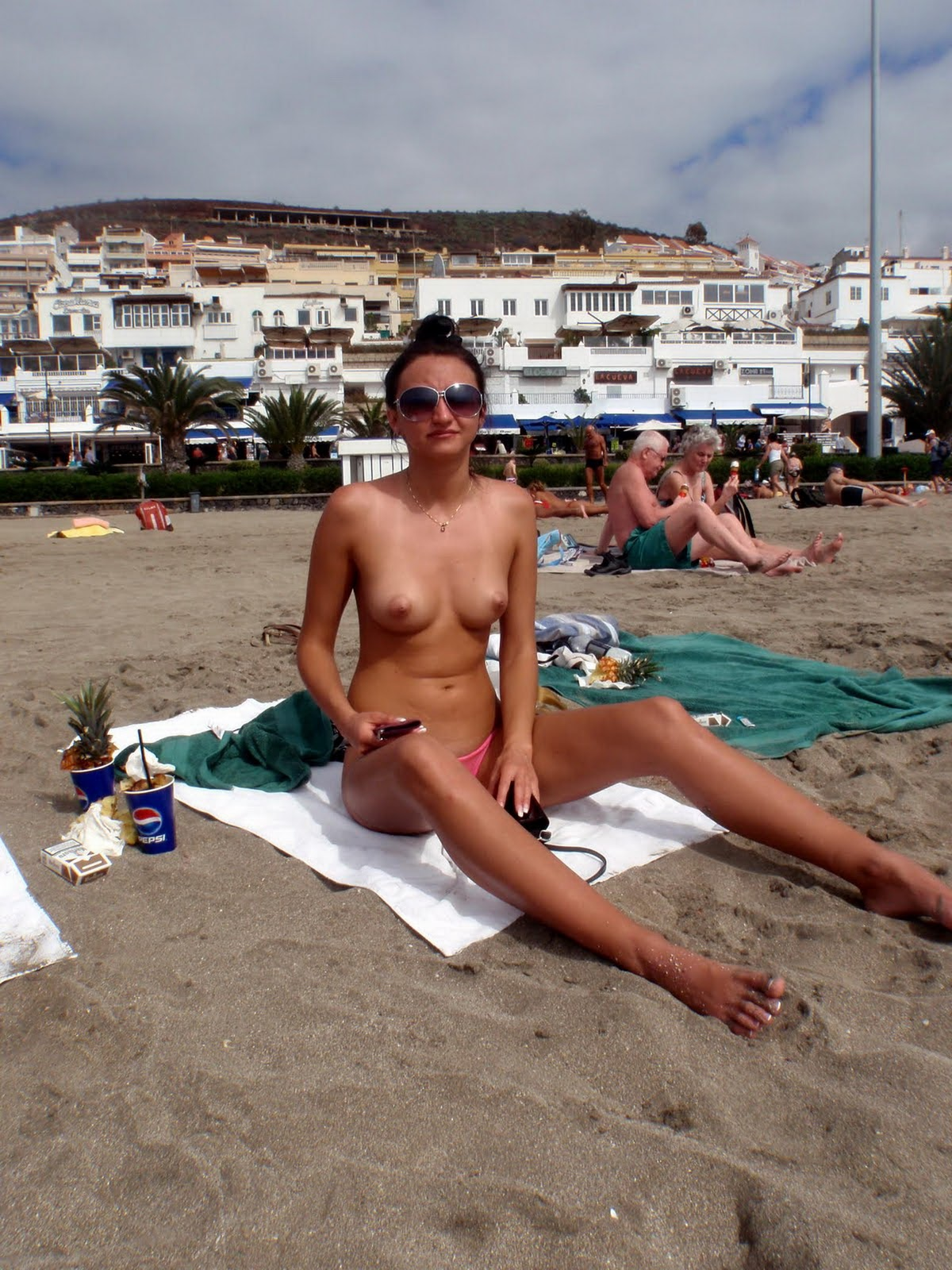 Sexy European Brunette Topless On Vacation At The Beach -1860