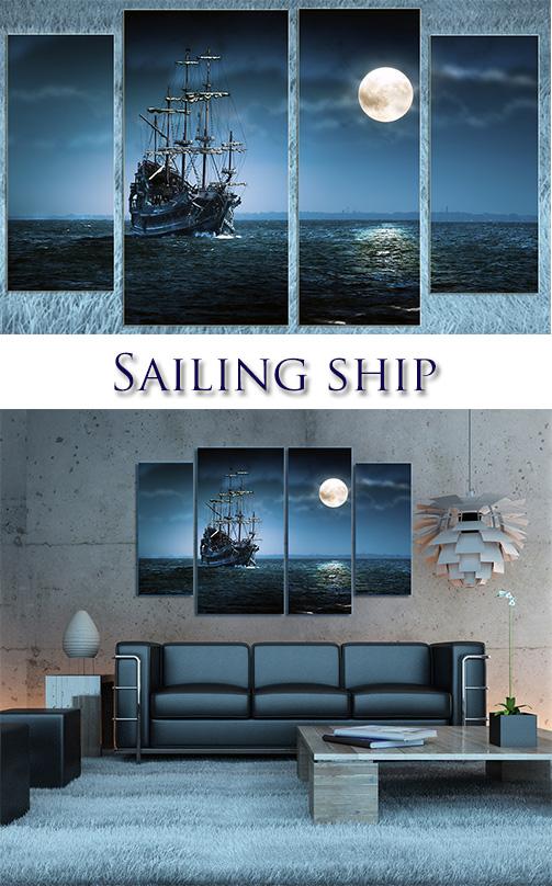Triptyches, Fourplex - Sailing ship