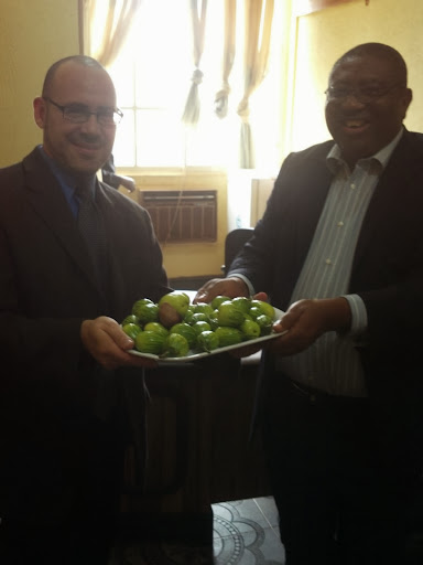 Over a plate of Kola fruit, at the University of Nigeria Nsukka