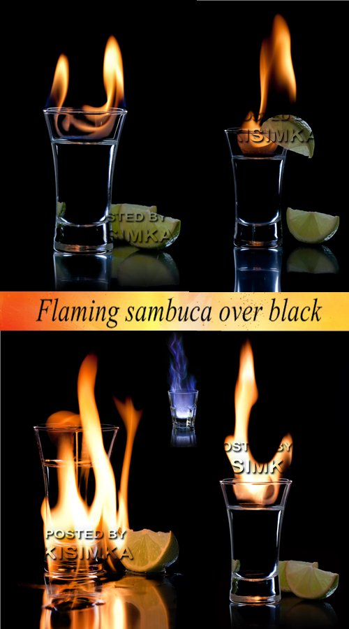 Stock Photo: Flaming sambuca over black