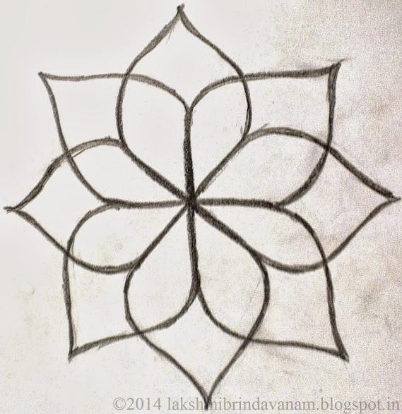 Flower Petals Line Drawing : Lakshmi brindavanam how to draw asta dhala padmam