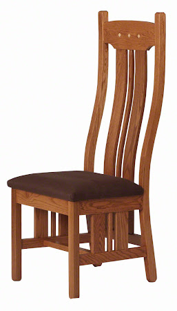 Colonial Chairs in Cinnamon Oak, Natural Hard Maple Raised Inlays, Rounded Fabric Seat