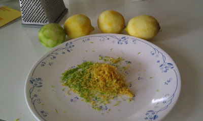 Figure 1: A zested lime and some lemons with their respective zests.