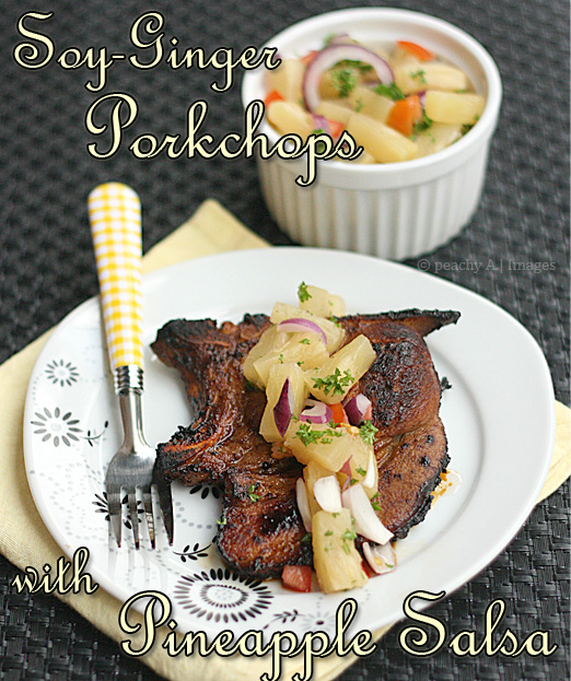 Soy Ginger Porkchops with Pineapple Salsa