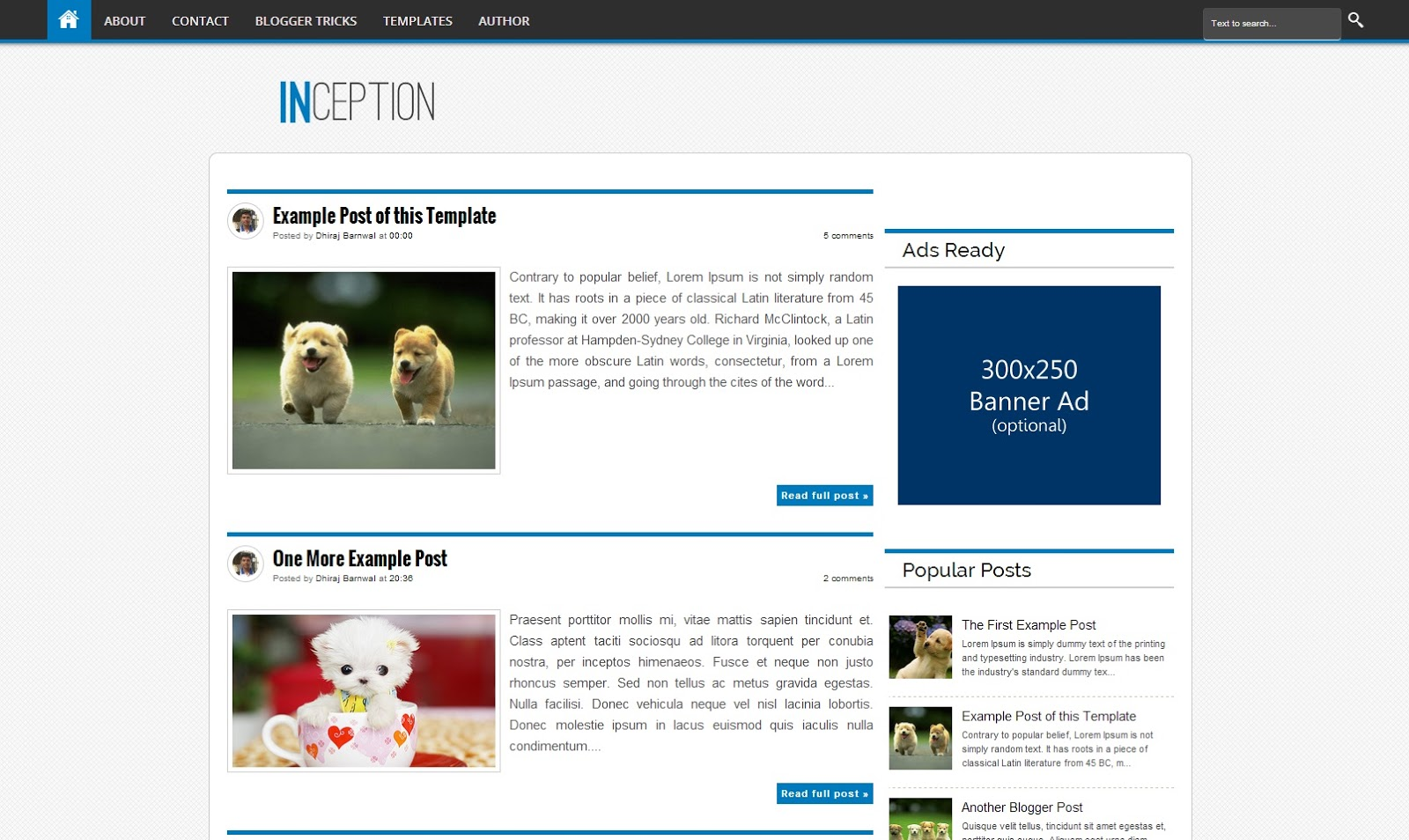 Inception free blogger template download