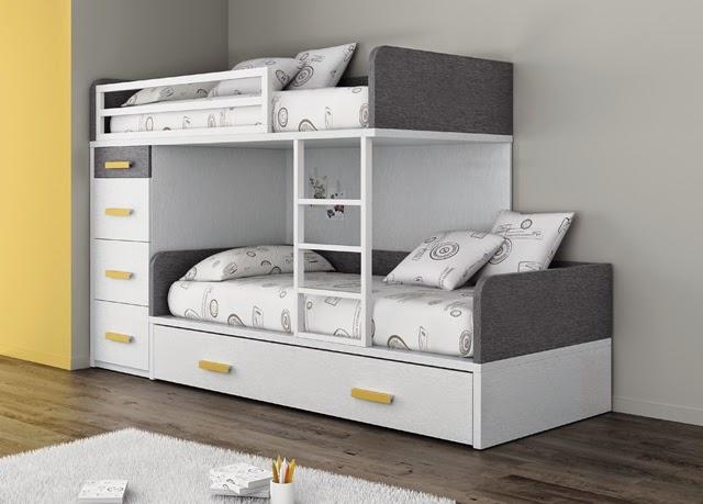 Cama tren con 3 camas y cajones - Medidas camas infantiles ...