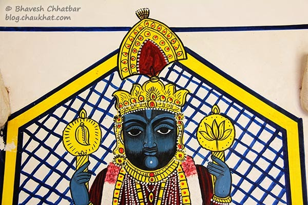 Wall painting of Shreenathji [close-up]