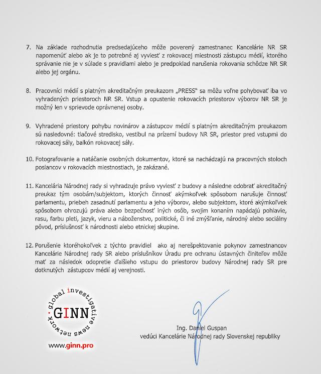 Kancelária národnej rady SR. Nové pravidlá pre novinárov. Pavol Paška