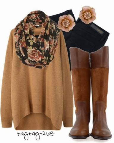 Stylish oversize light brown sweater, scarf, black skinnies and long brown boots for fall