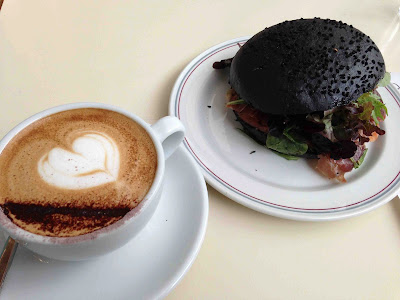 Tiong Bahru Bakery, Squid Ink Sandwich and cappuccino