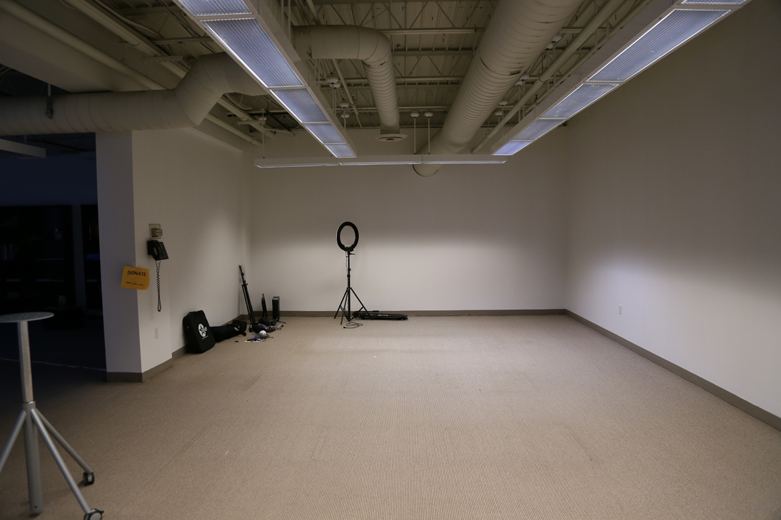 the room is 14x14 and on the far wall build video studio
