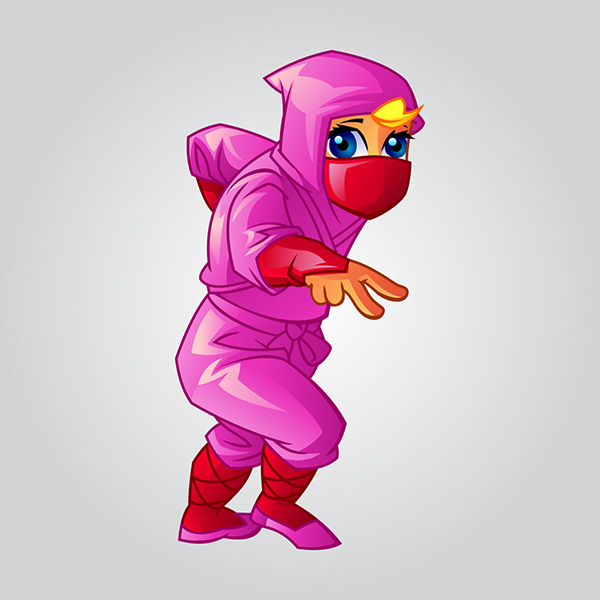 cartoon cute ninja baby girl illustration