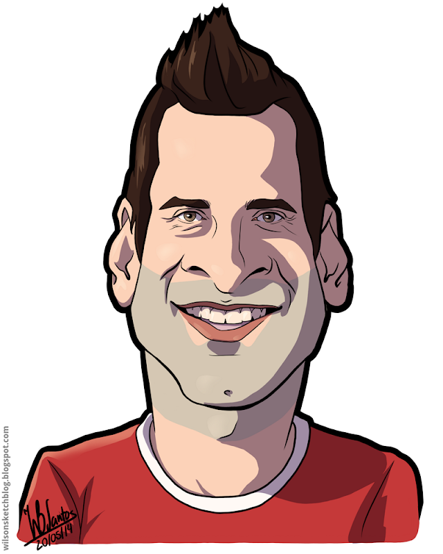 Cartoon caricature of Artur Moraes.