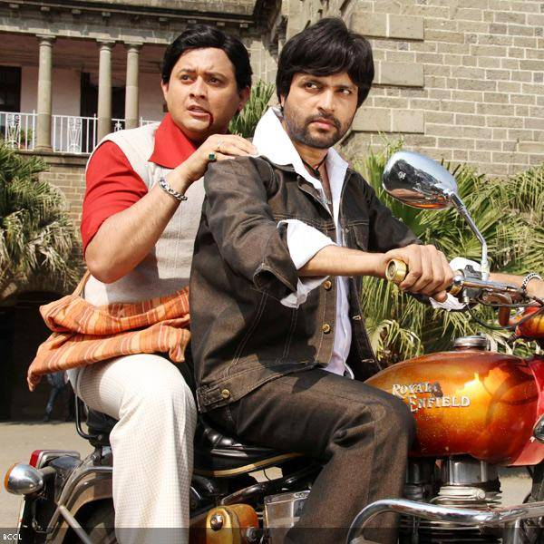 Swpanil Joshi and Ankush Choudhary in a still from the Marathi movie Duniyadari.