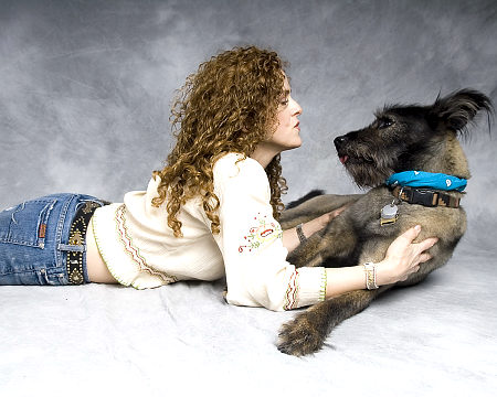 Bernadette Peters and her dog