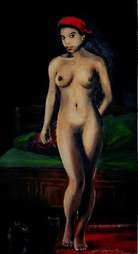 Female Nude, standing, with cats; an original acrylic and oil painting.