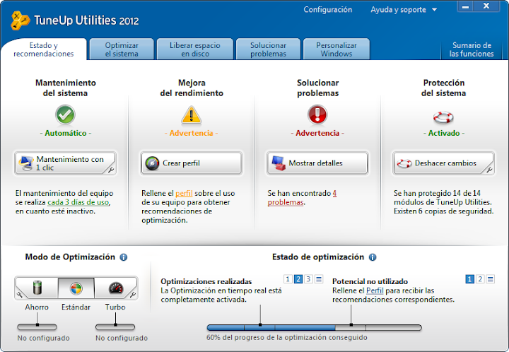 tuneup utilities 2012 - optimización y mantenimiento  del pc