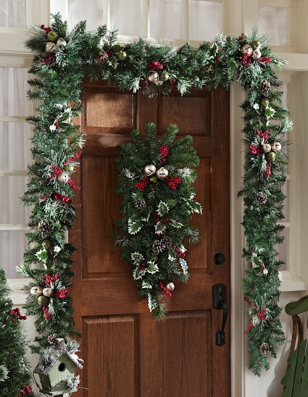 Jingle Bells Holiday Christmas Floral 9' Garland By Collections Etc
