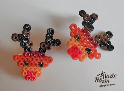 Cómo hacer pendientes de renos con hama beads.