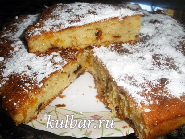 пирог на кефире с сухофруктами