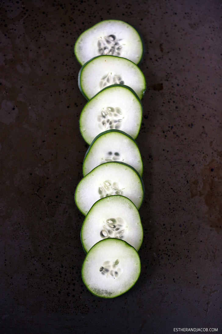 Cucumbers perfectly sliced by my new mandoline for my lemon citrus spinach salad recipe.