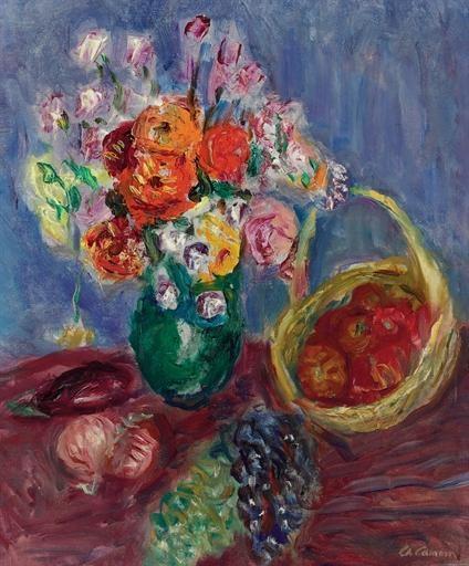 Charles Camoin - Vase de fleurs avec fruits
