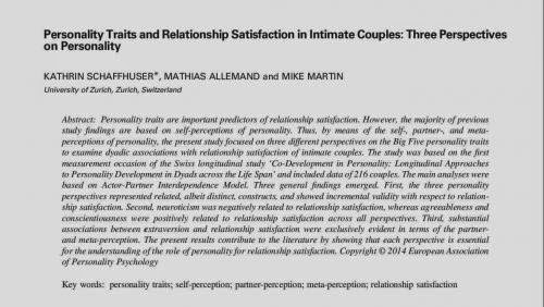 Paper Personality Traits And Relationship Satisfaction In Intimate Couples