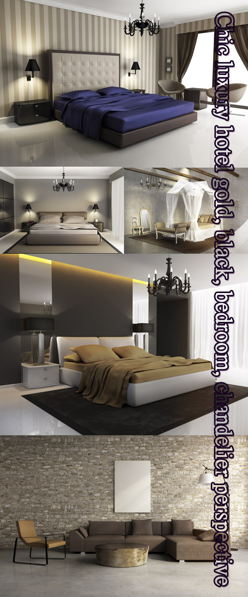 Stock Photo: Chic luxury hotel gold, black, bedroom, chandelier perspective