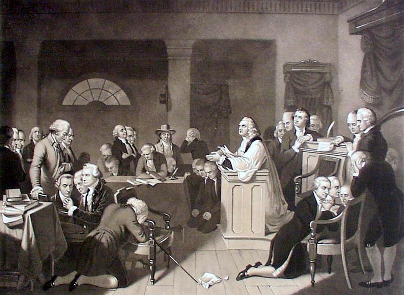 Opening prayer of First Continental Congress, in Carpenter's Hall, Philadelphia, 1774.