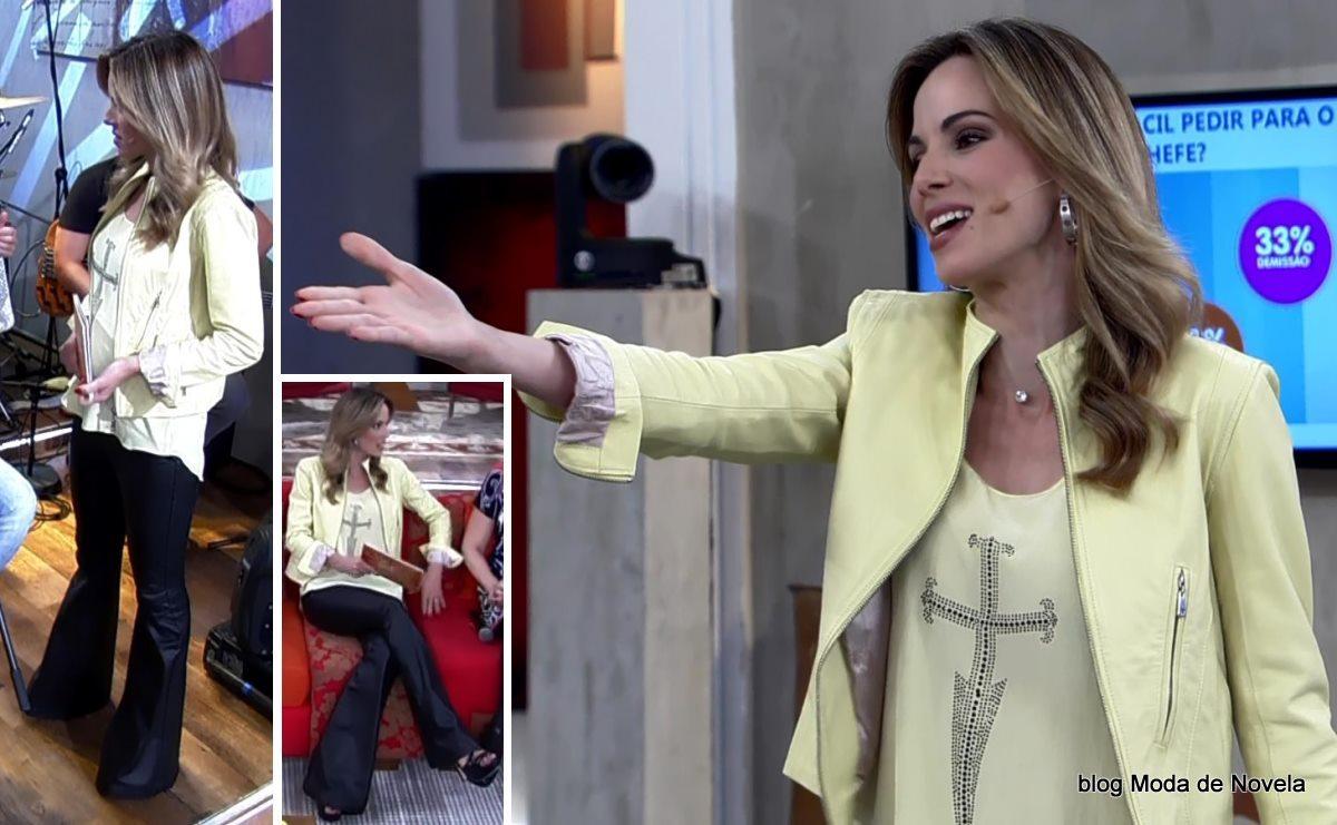 moda do programa Encontro - look da Ana Furtado dia 14 de maio