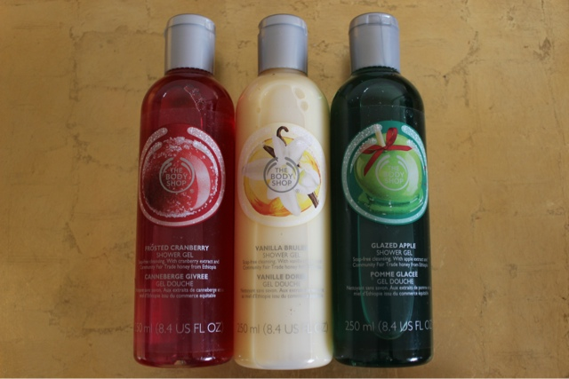 The Body Shop Christmas Shower Gels: Frosted Cranberry, Vanilla Brulee and Glazed Apple