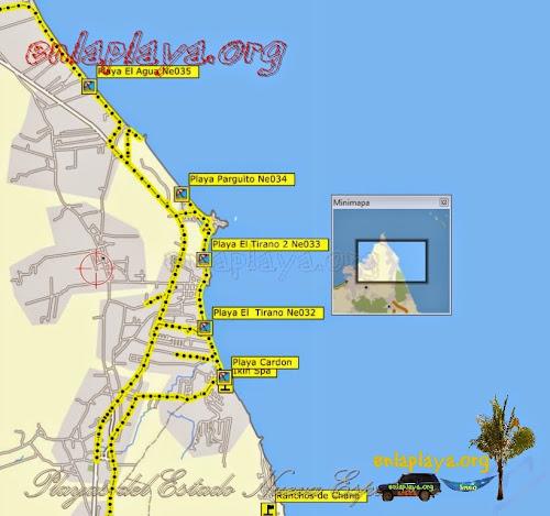 Mapa de Playas del sector Playa El Agua