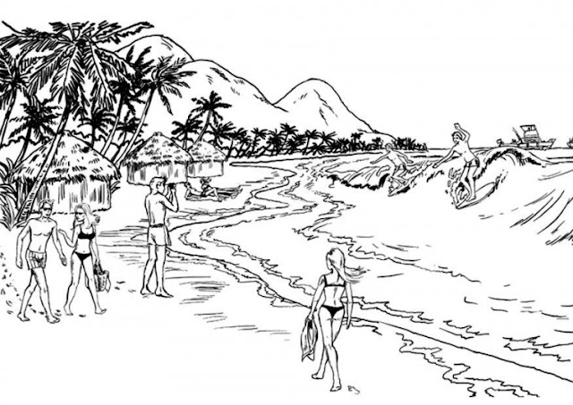 Beach vacations coloring pages