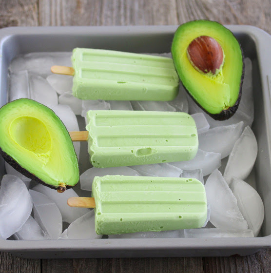 photo of three Avocado Coconut Ice Pops