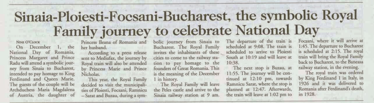 On the National Day, the Royal Train will stop in five towns, in a symbolic journey