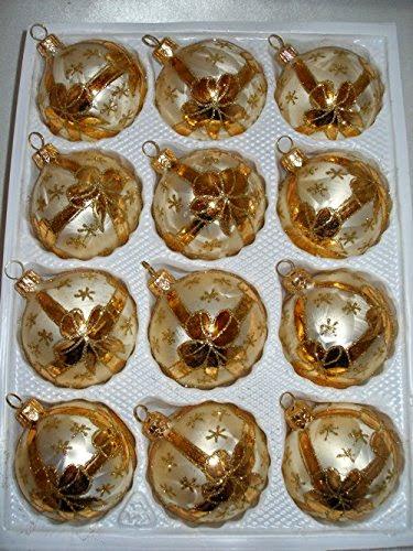 Christbaumkugeln Champagner Glas.12 Tlg Glas Weihnachtskugeln Set In Ice Champagner Goldene