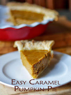 Easy Caramel Pumpkin Pie - withinthekitchen.blogspot.com
