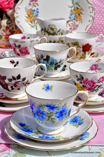 floral mismatched vintage tea set for six