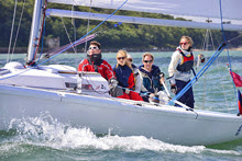 J/80 one-designs sailing off Cowes