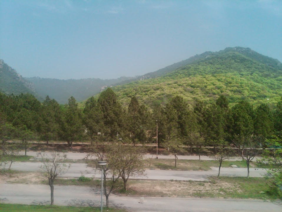 View of Margalla Hills from Faisal Mosque