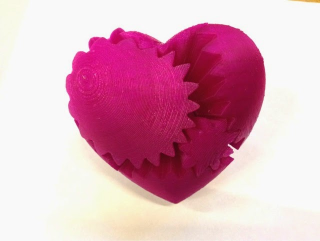 3D Printed heart shaped gear system.