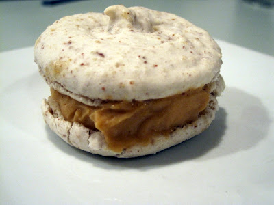 Ice cream sandwich - sweet potato ice cream and pecan macaron cookie