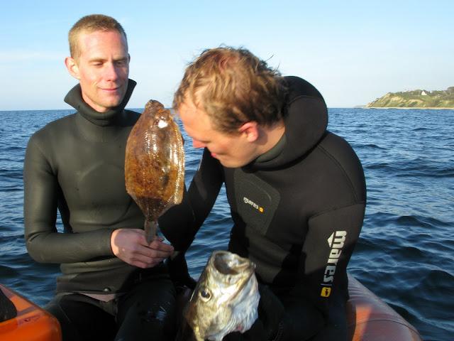 Søren Forsberg med lubbe og Johan Nielsen med rødtunge fra vrag ud for Hundested. Foto: Morten Villadsen