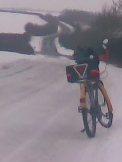 mountain bike in hilly ice & snow