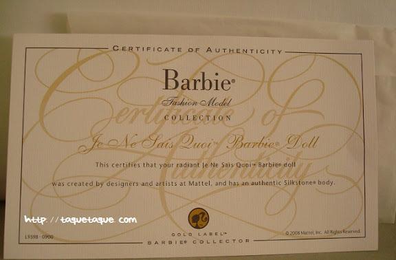 Barbie Silkstone Je ne sais quoi: certificado de autenticidad