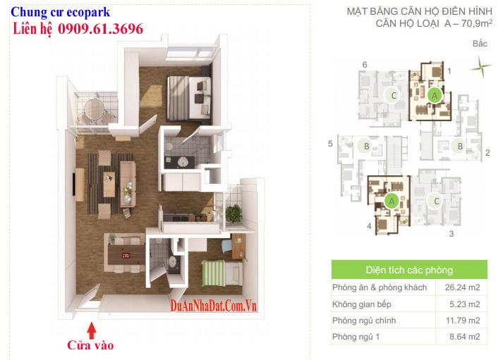 Căn hộ 70.9m2 loại A chung cư Ecopark Rừng Cọ