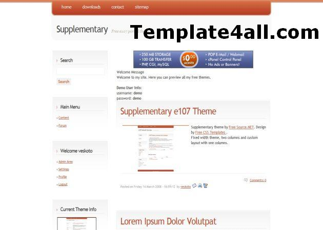 Free Business Orange Silver E107 Theme
