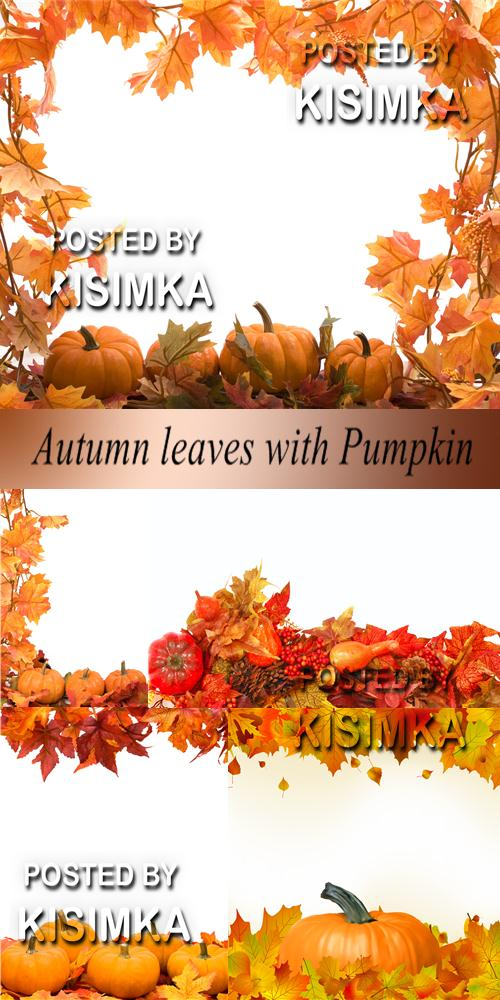 Stock Photo: Autumn leaves with Pumpkin