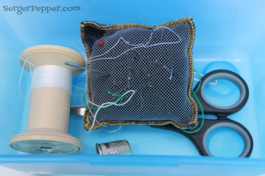 Slizzin' Summer series - Organize Your Sewing Room Low-Budget - Serger Pepper - mixed container - sewing travel kit