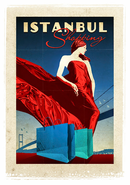 istanbul shopping retro poster